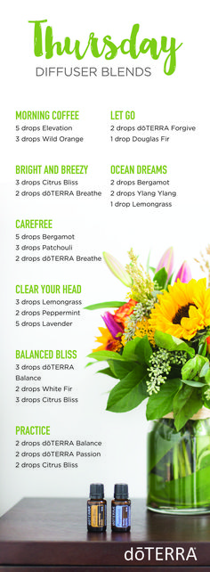 Thursday Diffuser Blends doTERRA oils are available for purchase. Visit my website https://www.mydoterra.com/cherreabbey #PatchouliEssentialOilblends