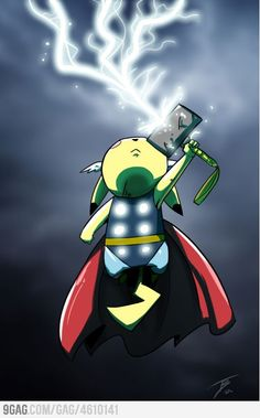 Pikachu as Thor! Am I the only person who freakin' loves this?!