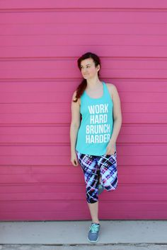 """Work hard, brunch harder"". I mean..isn't that the whole point of working out? Rock your workout or run errands in style in our fashionable fitness tank top! (Click here to purchase your own for $28 from The Trendy Sparrow)"