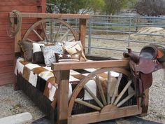 Western Rustic Bedroom | Rustic Barnwood Wagon Wheel Bedroom Collection  I LOVE THIS!!!!
