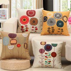 Retro Flower Square Pillowcase Linen Cotton Cushion Cover Living Room Sofa Decor