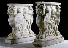 Two table supports, 1st century BC - 1st century AD. Pompeii, House of Gaius Corenlius Rufus, marble, 39 3/8 in. Soprintendenza Speciale per i Beni Archeologici de Napoli e Pompei, Ufficio Scavi, Pompei. Photo: Luciano Pedicini