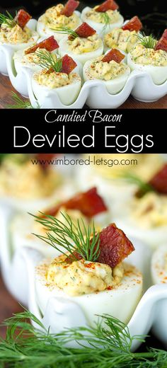 These Candied Bacon Deviled Eggs are some of the best I've ever had. Perfect for an appetizer, everybody loves them and also a great way to use up those hard boiled eggs from Easter!