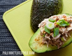 Tuna Avocado Boats: 1 pound tuna steak or canned Tuna (in water); 2 ripe avocados; The juice of half a lemon; 2 big green onions, minced (keep some of the green part aside); 1 garlic clove, minced; 1 tbsp ground paprika; About 1/2 cup of extra-virgin olive oil or 1 cup of paleo mayonnaise; 2 tbsp Paleo cooking fat. Sea salt and freshly ground black pepper to taste;
