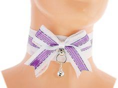 White purple satin Day Collar, Pet Kitten, DDLG, kitten play gear, Princess, Kittenplay, Petplay BDSM, Collar Kitten, Neko girl collar F3