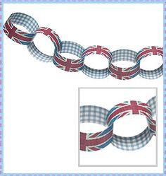 Union Jack paper chain kit or make Union Jack garland.