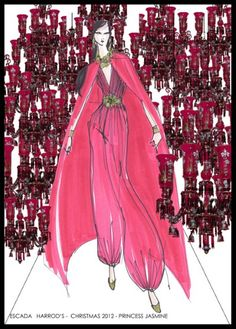 JASMINE FROM ALADDIN BY ESCADA  An exotic fuchsia silk chiffon gown encompasses the fiery beauty of Jasmine, complete with an extravagant golden flower belt.