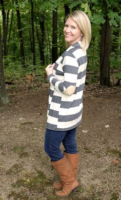 Totally love this top! Layla Striped Elbow Patch Detail Cardigan from #stitchfix