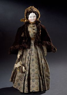 Fine Lady China Head Doll In Original Outfit, - Cowan's Auctions