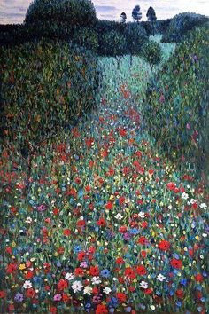 "rosiesdreams: ""The Poppy Field 1907 . By Austrian artist gustav-klimt "" Gustav Klimt, Klimt Art, Monet, Oeuvre D'art, Love Art, Amazing Art, Poppies, Art Photography, Wedding Photography"