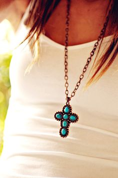 Turquoise Cross Necklace, Vintage Necklace