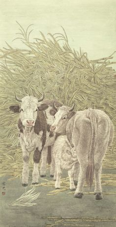 鄭宏光 Zheng Hongguang 相親相愛 Mutual affection 177x91cm  #hongkongartgallery #hk#hongkong #asian #asianart #exhibition #artist #artwork #ink #inkart #art #world #ox #cow #mutual #affection #grazing #graze #family #care #happiness #painting #paintings #gallery #artgallery #ZhengHongguang