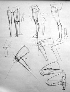 "Anatomy Drawing Tutorial Anatomy Studies Demo: ""Figure Studies"" - Page 2 Leg Anatomy, Anatomy Study, Anatomy Art, Leg Reference, Anatomy Reference, Anatomy Sketches, Body Sketches, Male Figure Drawing, Figure Drawing Reference"