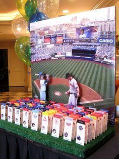 Yankees Stadium Seating Card Display with Sports Ticket Place Cards