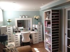 This girl's makeup room!! What a huge collection! How does she remember where anything is? My mouth was on the floor watching it!