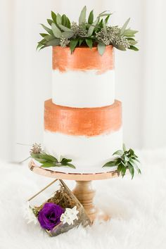 copper wedding cake - photo by Kasey Lynn Photography http://ruffledblog.com/birch-and-copper-wedding-inspiration-with-modern-romance
