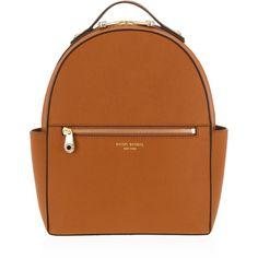 Henri Bendel West 57th Backpack ($298) ❤ liked on Polyvore featuring bags, backpacks, med brown, zip handle bags, zipper bag, knapsack bag, henri bendel and zip bag