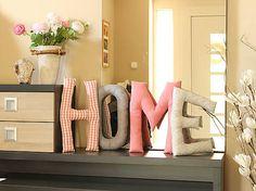 Maryella / Textilné písmená HOME ružovo-sivé