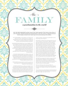 "Family: A Proclamation to the World"" free LDS printable gorgeous free LDS printable of ""The Family: A Proclamation to the World""OF OF or Of may refer to:"
