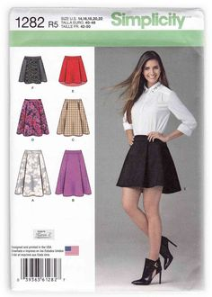 Women Flared Skirts Sewing Pattern Miss 14-22 Simplicity 1282 #skirts