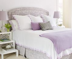 Lavender, white and peek of brown bedroom via Spicer & Bank