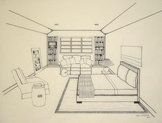 Two point perspective drawing room google search for Bedroom 2 point perspective