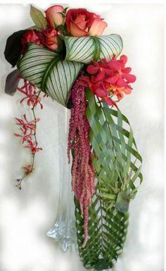 tropical wedding flower arrangement cool bouquet idea - love the roses Tropical Wedding Bouquets, Tropical Flower Arrangements, Wedding Flower Arrangements, Floral Wedding, Wedding Flowers, Purple Wedding, Design Floral, Deco Floral, Arte Floral