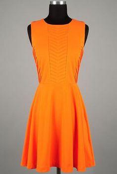 Orange Chevron Pintuck A-line Dress by Ara