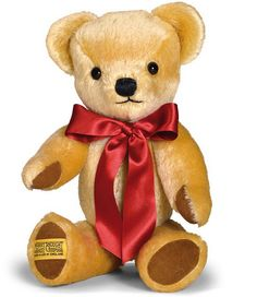 """London Gold Teddy Bear [GM14LG] - """"London Gold"""" traditional teddy Bear This timeless Merrythought teddy bear is a loyal, lifelong companion for any child or adult to enjoy. Each bear is made from quality golden mohair, with contrasting brown pads and satin ribbon. London Gold from maxedupgifts is an archetypal teddy bear and a perpetual best-seller. Size; 14"""" Larger sizes available"""