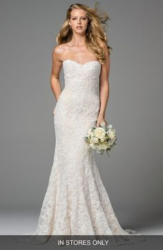 Watters Copeland Strapless Lace Gown available at #Nordstrom