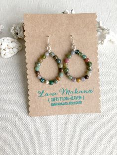 Rainbow Jasper Hoop Earrings Colorful Beaded Hoop by LaniMakana