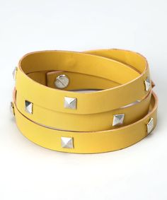 Another great find on #zulily! ZAD Yellow & Silver Studded Leather Wrap Bracelet by ZAD #zulilyfinds