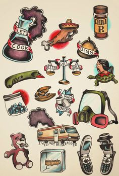 I painted a sheet of tattoo flash based off Breaking Bad! - Imgur