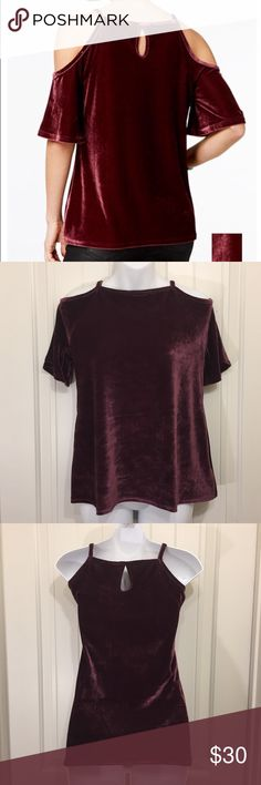 Ultra Flirt Velvet Top Dare to bare your shoulders in a dressy Ultra Flirt top that is stylish and velvet all over. Spaghetti straps and cold shoulder short sleeves, easy fit and hits at the hip. Ultra Flirt Tops Blouses