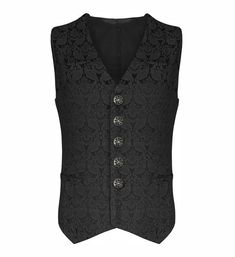 Black Brocade Mens Waistcoat, Goth Vest, Steampunk Waistcoat