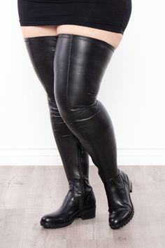 Rock n' Rolla Super Stretchy Over The Knee Boots - Black   Curvy Sense Brown Thigh High Boots, Thigh High Boots Outfit, Leather Over The Knee Boots, Over The Knee Boot Outfit, Black Boots, Boots With Jeans, Clothing Templates, Plus Size Boots, Thigh Highs