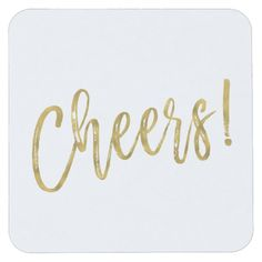 Cheers Faux Gold Foil and White Drink Coasters Birthday Wedding engagement party Gold Wedding Theme, Chic Wedding, Wedding Engagement, Wedding Ideas, Wedding Coasters, Wedding Napkins, Wedding Typography, Elegant Birthday Party, Signature Cocktail