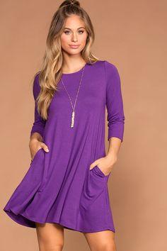 Catching Leaves Swing Pocket Dress - Purple Purple Dress Outfits, Purple Dress Casual, Fall Outfits, Casual Dresses, Short Dresses, Midi Dresses, Midi Cocktail Dress, Casual Fall, Fashion 2020
