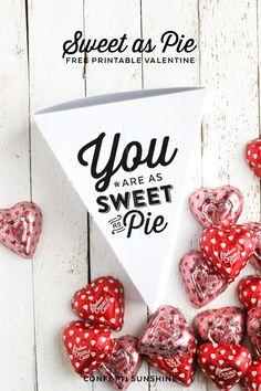 Sweet As Pie Free Printable Valentines gift box. | Confetti Sunshine http://www.confettisunshine.com/2015/01/sweet-as-pie-free-printable-valentines.html