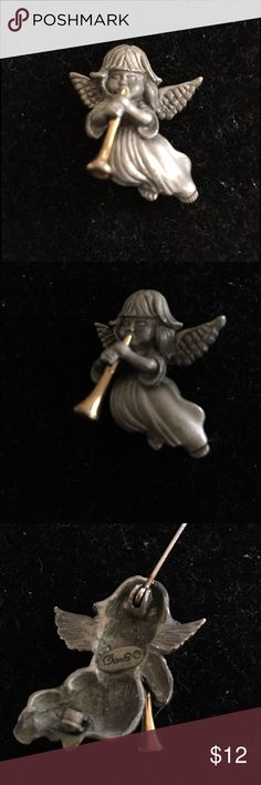 DARLA VINTAGE 1960 PIN Vintage Darla Brooch or Pin this is all pewter and gold horn - she is so pretty - small angel playing the horn softly- 1960 Darla co . She is a little over an inch - perfect for a collar - and she is looking beautiful for 50 plus years Vintage Jewelry Brooches