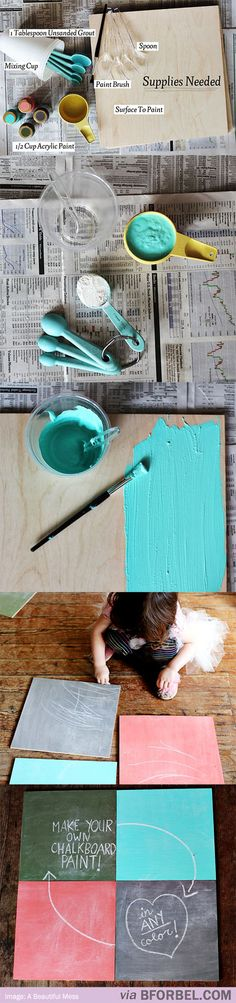How to: Make Chalkboard Paint in ANY COLOR. Need to try this as a (hopefully) cheaper alternative to buying it premade. I want to paint my door in my kitchen with chalkboard paint. Cute Crafts, Crafts To Do, Arts And Crafts, Diy Crafts, Make Chalkboard Paint, Homemade Chalkboard, Chalkboard Ideas, Chalk Paint, Diy Projects To Try