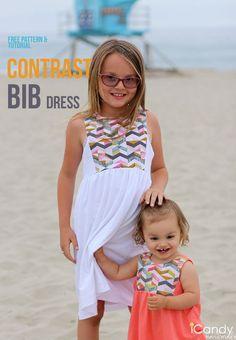Contrast Bib Dress- Free Sewing Pattern Gr. 8/9 Jahre und 18-24 Monate