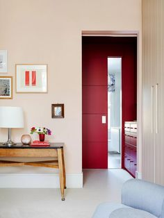 Paint colour ideas and inspiration. Little Greene Theatre Red adds drama to a dressing room off a master bedroom. Use Temple by Paint & Paper Library to create a light reflecting base for different textures.