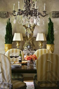 yellow/ white striped dining chair slipcovers with bows - French country dining French Interior, French Decor, French Country Decorating, Interior Design, Design Design, Design Ideas, French Country Dining, French Country Cottage, French Country Style