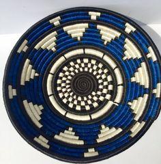 African Basket / Rwanda Basket/ Woven Basket/ Sweet Grass and Sisal/ Boho  Wall Hanging Basket  fruit basket