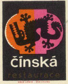 cinska restaurace - vintage Czech matchbook label