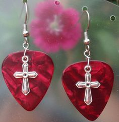 Silver Cross Guitar Pick Earrings- Your choice of pink, blue, gold, red, green, purple and turquoise guitar picks by CraftyCutiesbyDesign, $6.00