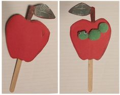 Adam and Eve Apples - Print the Adam and Eve Printable.  Cut and color the apples.  Glue one apple to each side of a popsicle stick so they match up.  On one apple, add pompoms to make a worm.  Add googly eyes on the head.  Leave the other apple plain.  Discuss how Adam and Eve saw only want they wanted to see (the beautiful apple).  God saw the whole situation (the wormy side) and knew what was best for them.