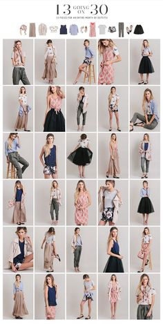 13 pieces for an entire month of capsule wardrobe outfits. Capsule Outfits, Fashion Capsule, Capsule Wardrobe Summer, Look Fashion, Fashion Outfits, Fashion Tips, Trendy Fashion, Wardrobe Basics, Wardrobe Ideas
