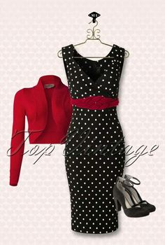 Diva Polkadot Pencil Dress in Black Pin Up Outfits, Classy Outfits, Cute Outfits, Looks Rockabilly, Rockabilly Fashion, Vintage Dresses, Vintage Outfits, Vintage Fashion, Look Fashion